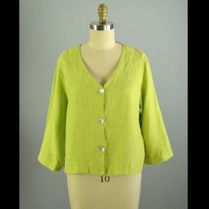Flax Linen Green Button Crop Top Medium